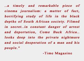 Come Back, Africa, de Lionel Rogosin | Citation du Times Magazine